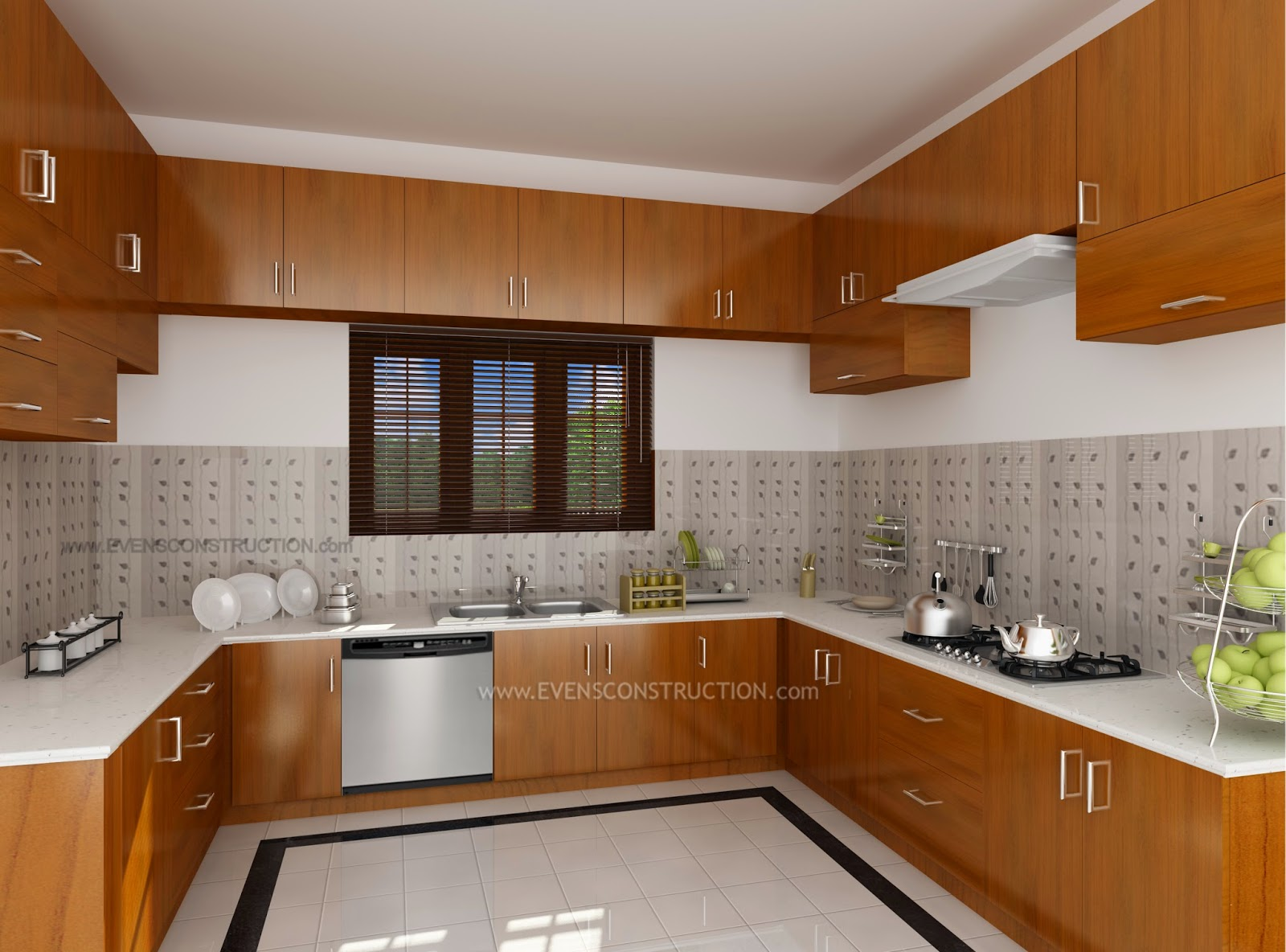 Modern kitchen interior designed for Kerala home