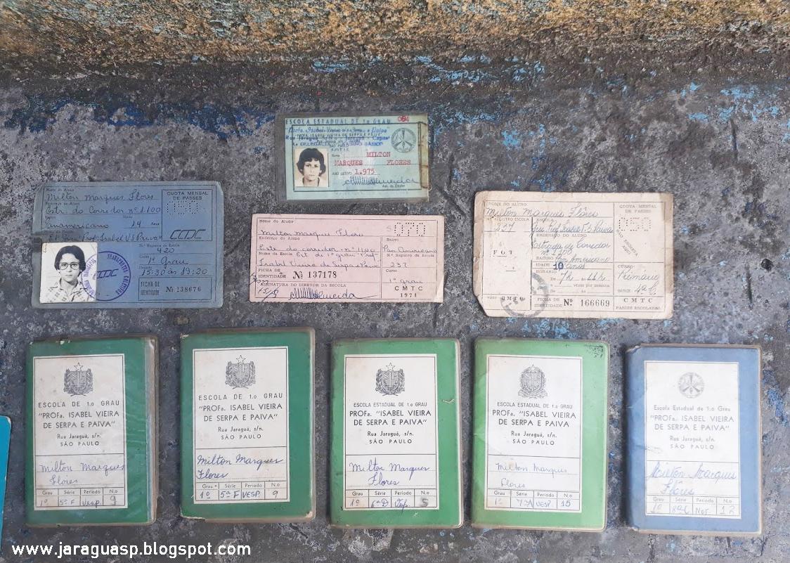 Alguns documentos da época em que Milton Flores estudava no colégio Isabel. Foto: Marinaldo Gomes Pedrosa