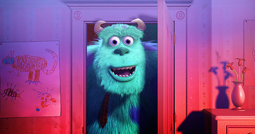 Sully dans le placard de Boo, dans Monstres et Compagnie des studios Pixar (2001)