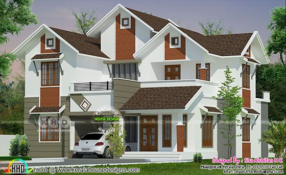 5 Bedrooms 2195 Sq.feet Mixed Modern Sloped House