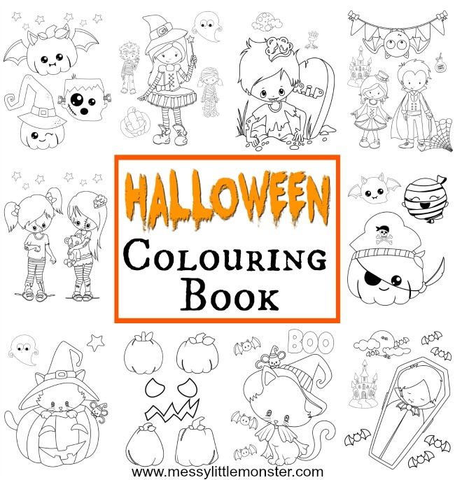 Halloween colouring pages for kids - A collection of 18 free printable colouring pages to download and print out. They include a witch, cat, vampire, zombie and pumpkin.