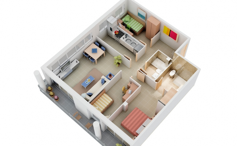 modern 3 bedroom home flat 3d view interiors with free