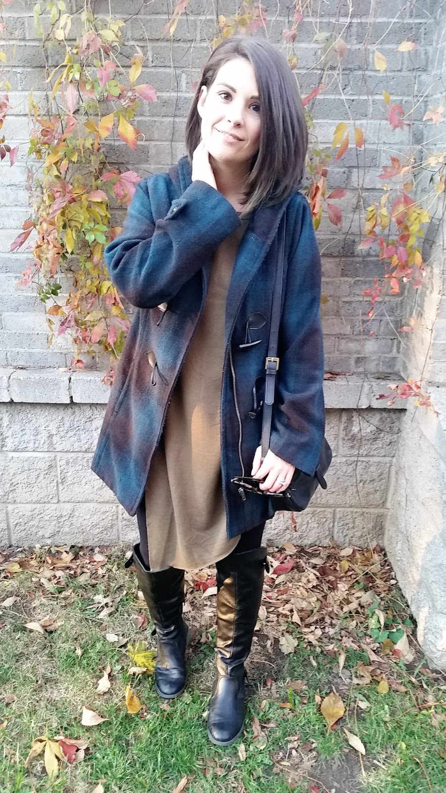 Plaid coat, over the knee boots, long sweater