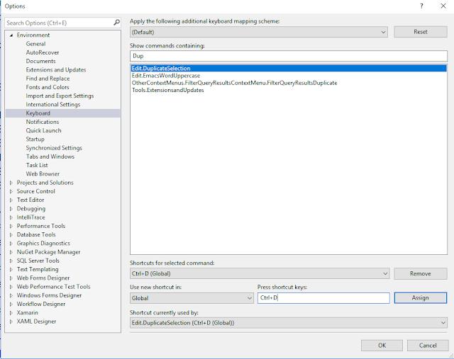 Easy set up duplicate line shortcut key