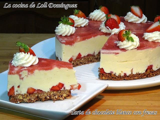 Tarta De Chocolate Blanco Con Fresas Y Sin Horno