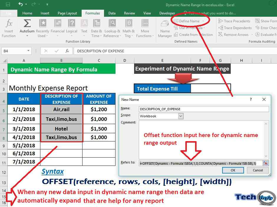 Dynamic Name Range In Excel with Offset Function & Table - Tech Info