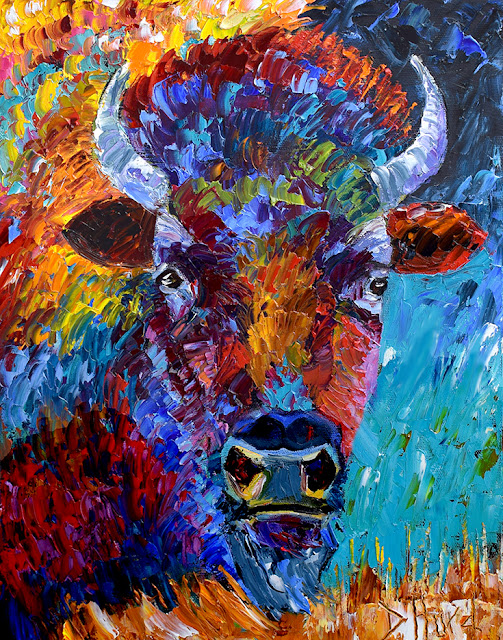 Buffalo Painting Bison Art Colorful Paintings Texture Palette Knife Artist by Debra Hurd