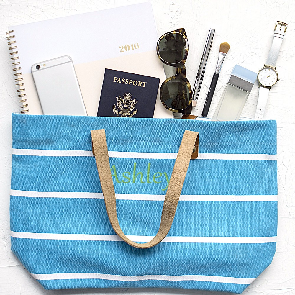 Blue Striped Tote Bag