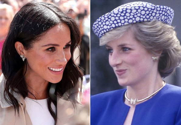 Meghan Markle wore Princess Diana's gold and diamond butterfly earrings