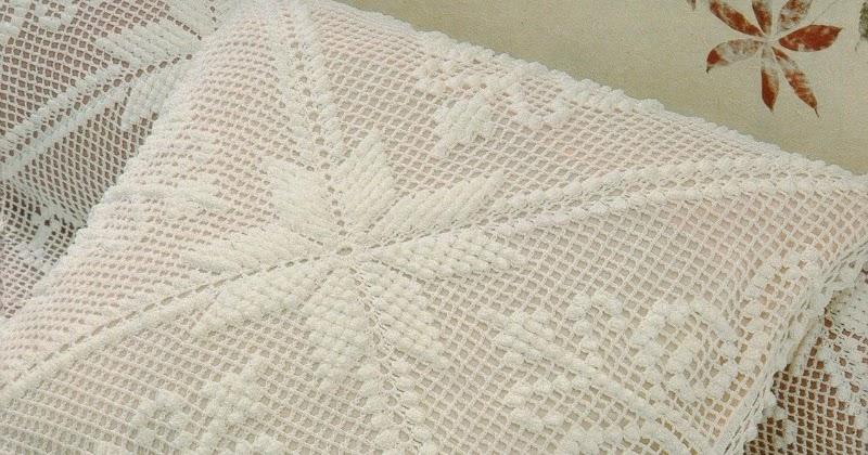 Pink Rose Crochet Almofada Estrela e Arabescos em Ponto