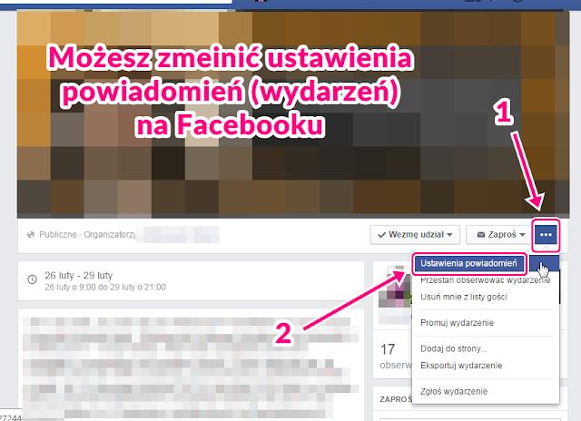 Zmiana ustawień powiadomień z wydarzeń na Facebooku 1