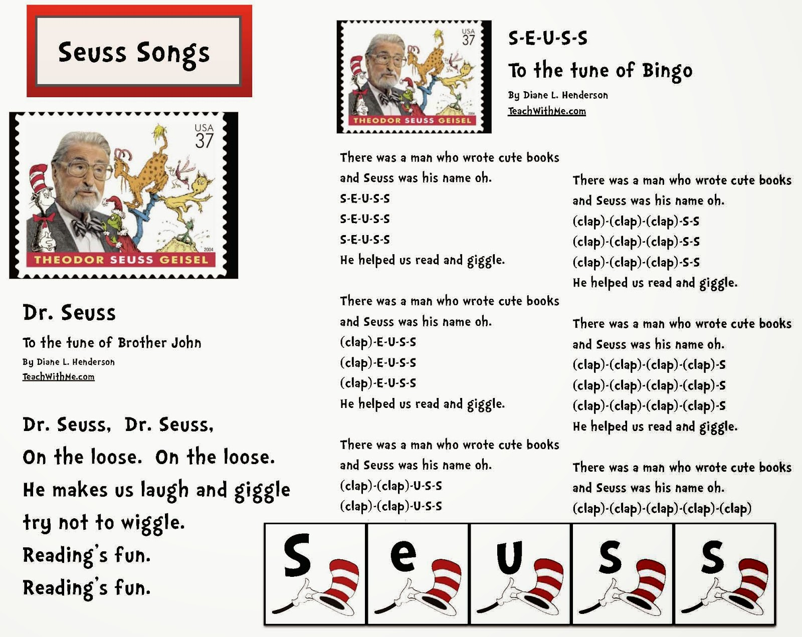Classroom Freebies Dr Seuss Activities Songs For Seuss