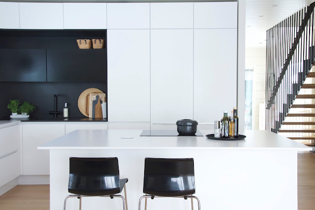 modern kitchen - scandinavian kitchen - black and white kitchen - big island in the kitchen