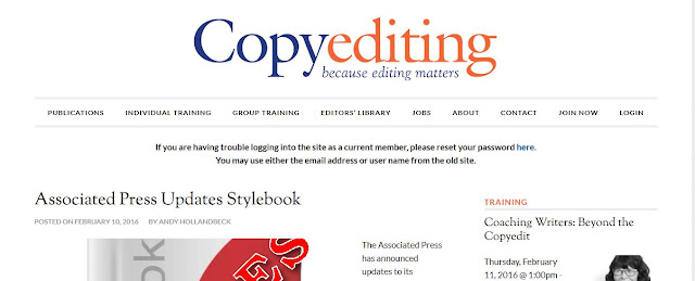 A screen shot of the new Copyediting.com layout.