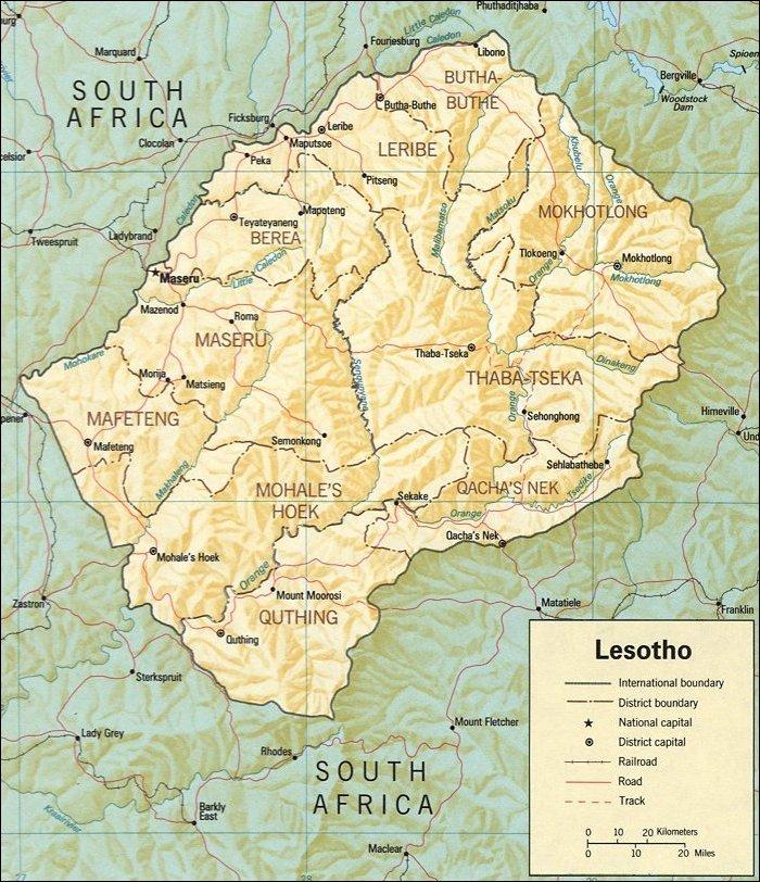 Lesoto | Mapas Geográficos de Lesoto