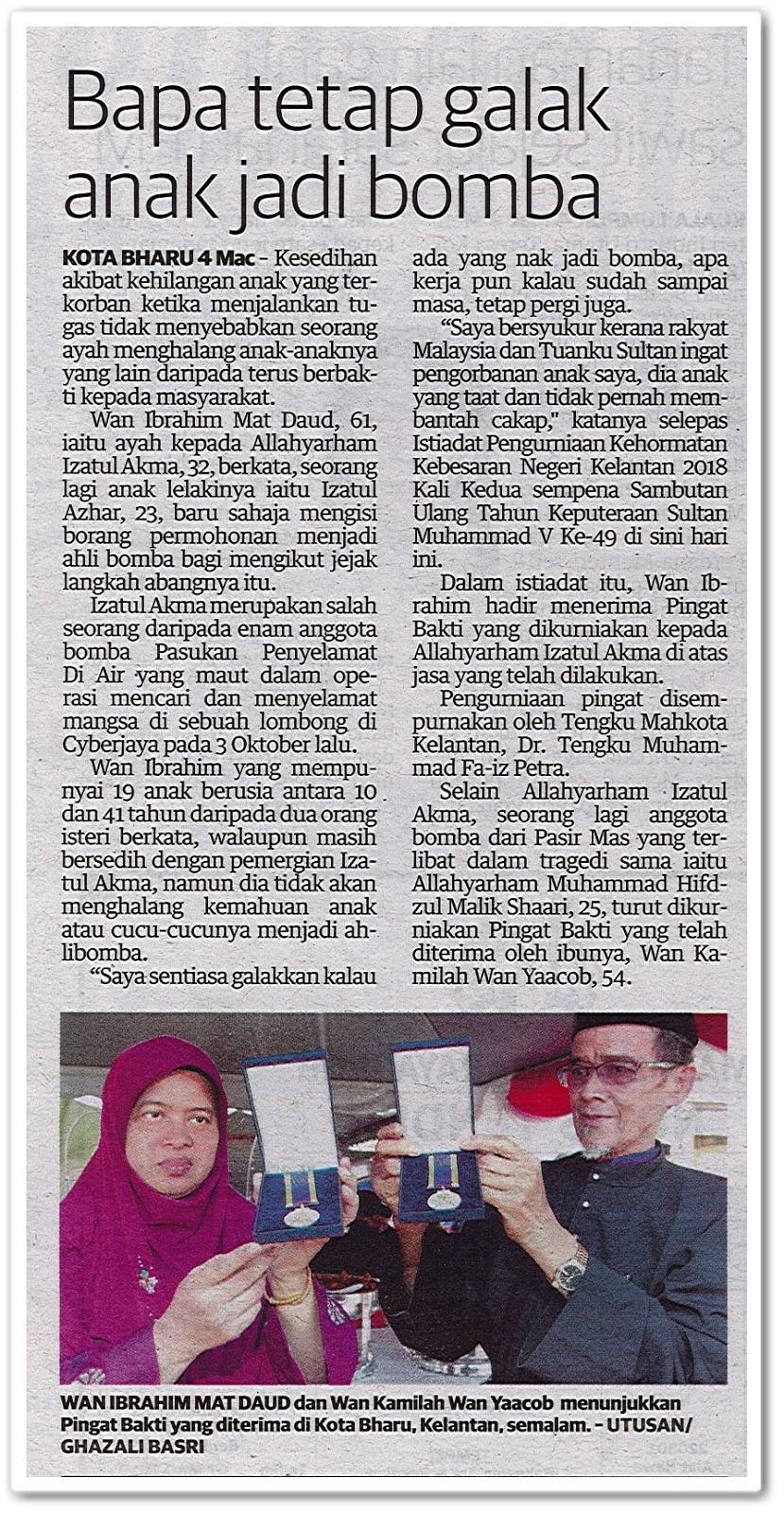 Bapa tetap galak anak jadi bomba - Keratan akhbar Utusan Malaysia 5 Mac 2019