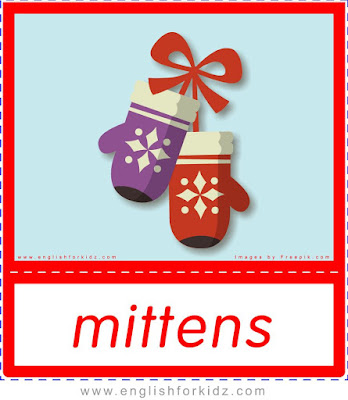 mittens, printable Christmas flashcards free download