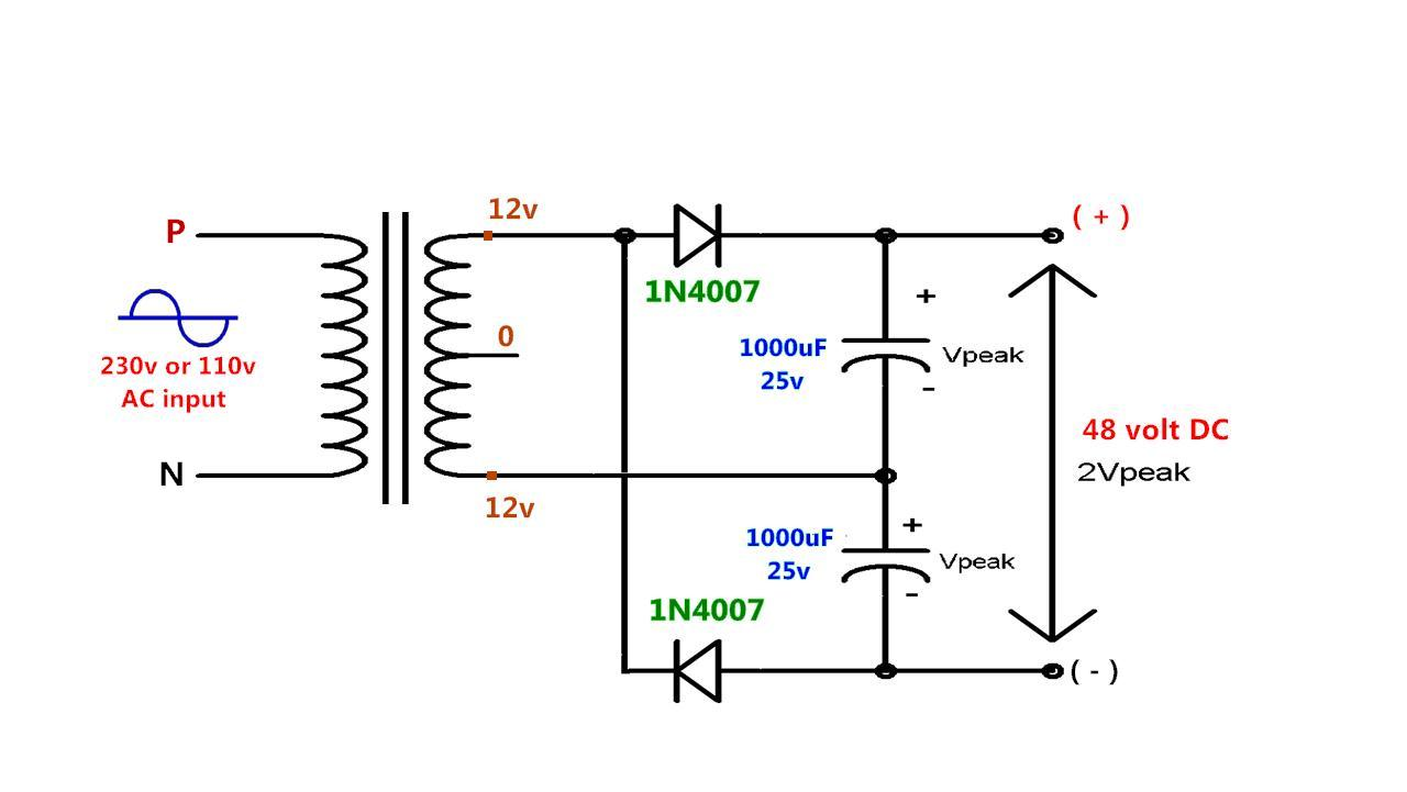Power Gen Circuit Diagram List Part 2 110 Ac To 12 Volt Dc Converter Wiring Simple With Voltage Doubler Using Diode Capacitorv In2 V Out