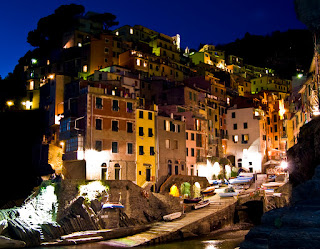 Cinque Terre village of Riomaggiore in evening