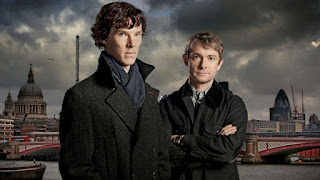 Benedict Cumberbatch and Martin Freeman as Sherlock Holmes and John Watson in BBC 'Sherlock'