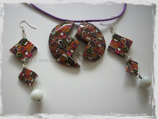 polymer clay set, earrings, pendant, coloful, extruder