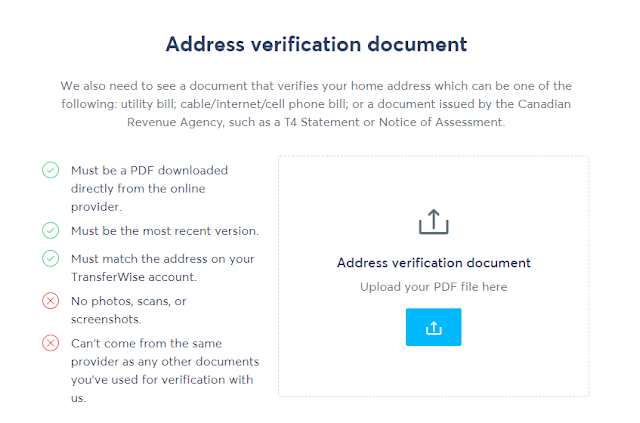TransferWise Address Verification Document