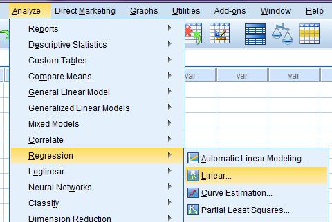 menu analyze spss statistik regresi berganda