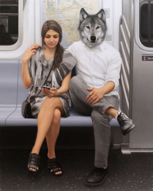04-Lexington-Avenue-Local-Wolf-Matthew-Grabelsky-Paintings-of-Animal-Human-Hybrids-on-the-Subway-www-designstack-co