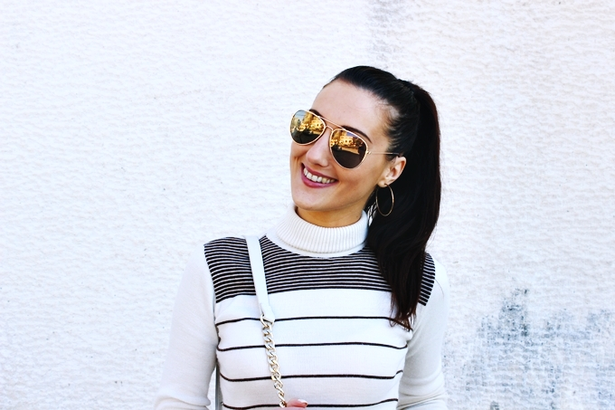 Beige and brown striped turtleneck.H&M gold mirrored aviator sunglasses and gold hoop earrings.