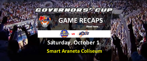 List of PBA Game Saturday October 1, 2016 @ Smart Araneta Coliseum