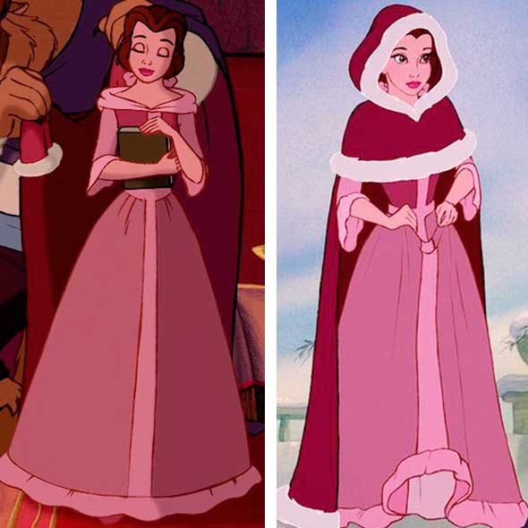 Figurino bela vestido rosa