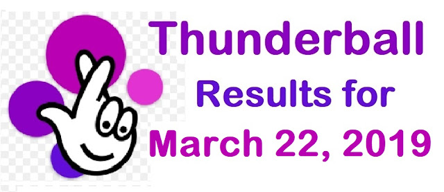 Thunderball results for Friday, 22 March 2019