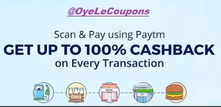 Paytm scan and Pay Offer get 100% cashback