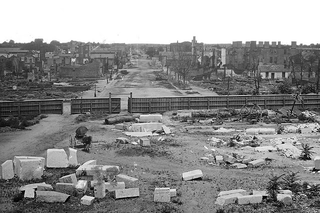 A view of Columbia, South Carolina, seen from the Capitol, following the occupation of the Union Army in 1865 -- during which much of the city was destroyed.