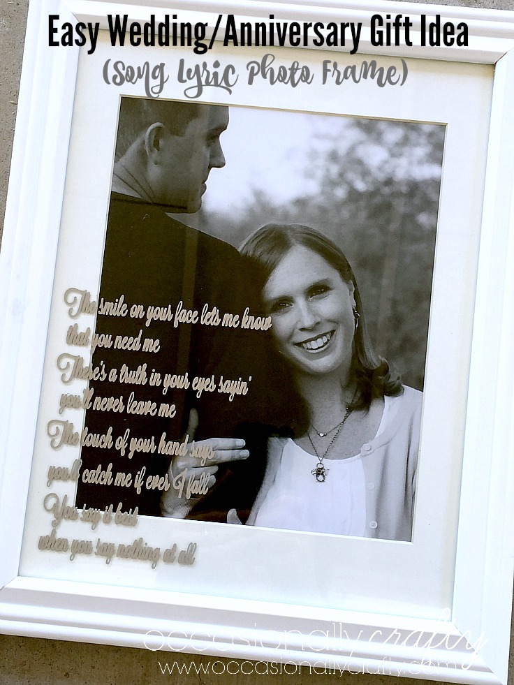 "Use a vinyl decal with lyrics from ""your song"" for a special DIY Wedding Gift or Anniversary Gift!"