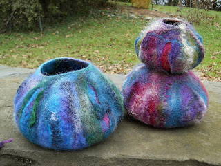 Colorful handmade wet felted bowls from Isinglass Design