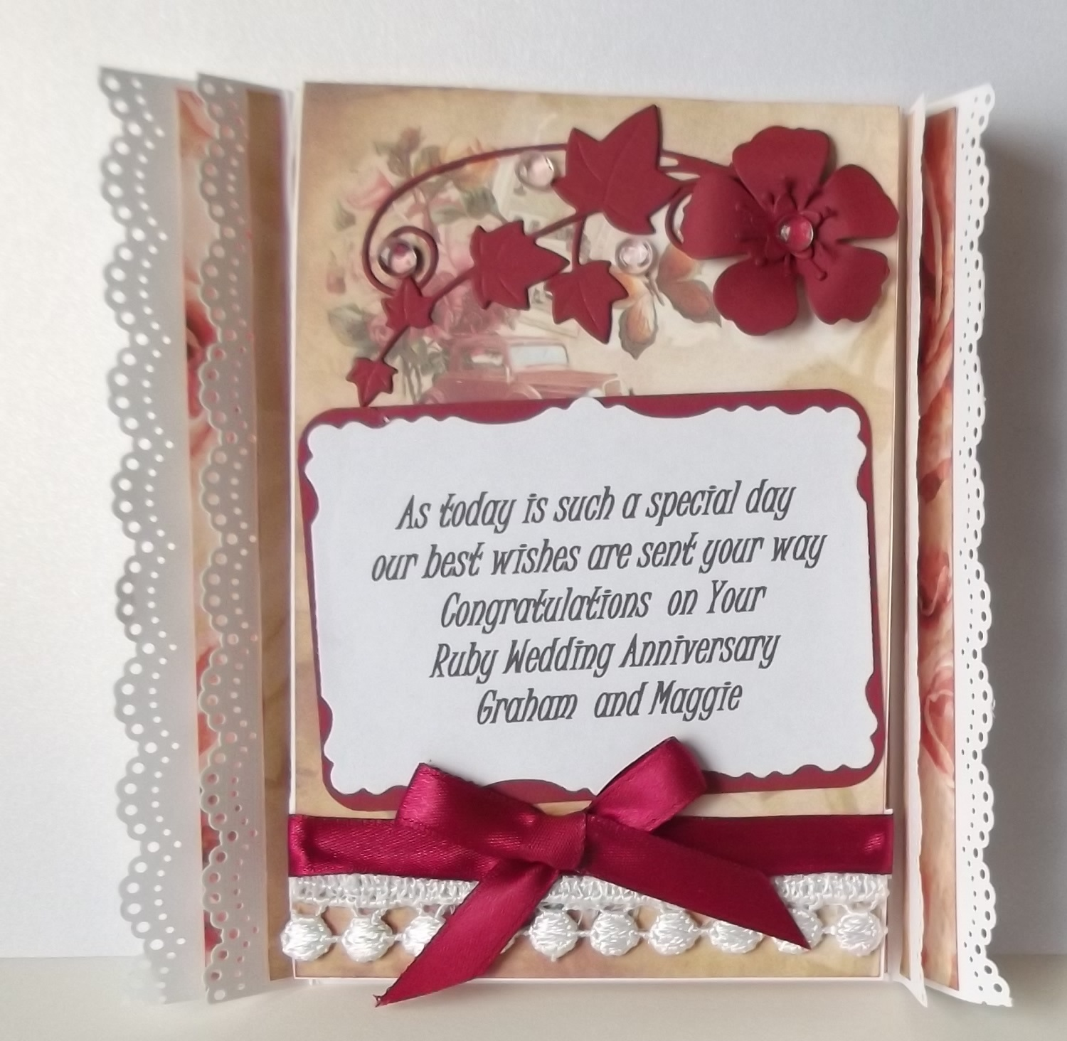 Crafty-Stamper: Ruby Wedding card