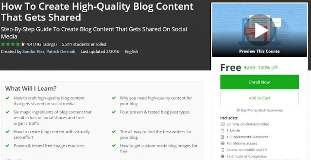 [100% Off] How To Create High-Quality Blog Content That Gets Shared| Worth 200$