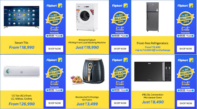 Flipkart Big Billion Days - Deals on Larger Appliances