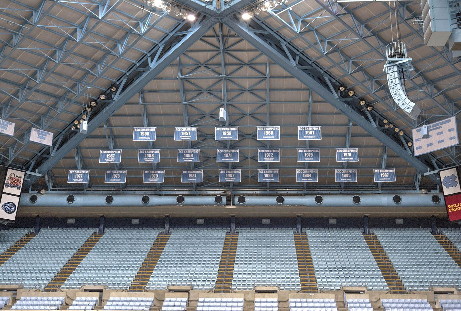 The Rafters In Smith Center Are A Virtual Adjunct To Museum Above Uniforms Of Tar Heels Best Known Players And Below Just One Section