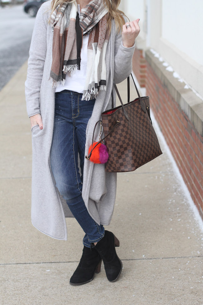 garnet hill cashmere long sweater, louis vuitton neverfull bag