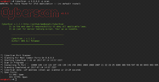 CyberScan An Open Source Penetration Testing Tool For Scanning Ports, Pinging and Geolocation.