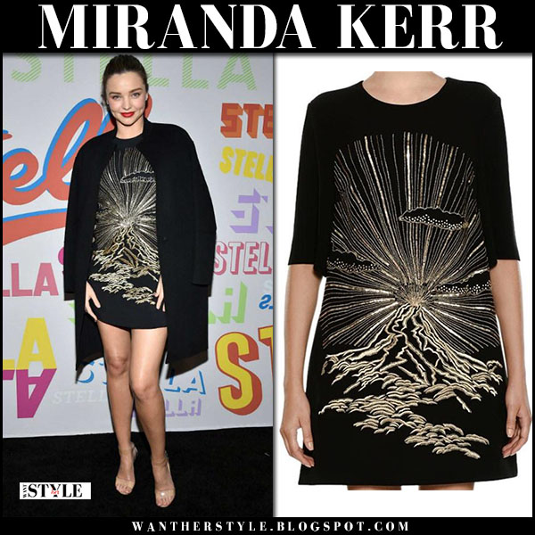 Miranda Kerr in black printed mini dress stella mccartney and clear sandals steve madden party event fashion january 16