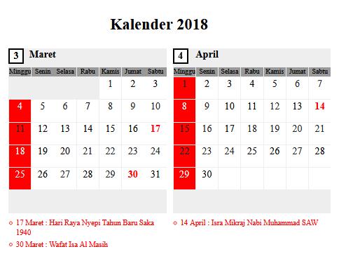 Kalender Bulan Maret 2018