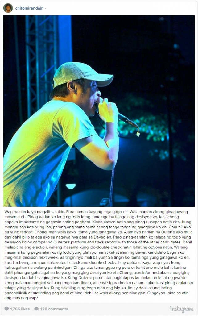 Chito Miranda bashed by Duterte Supporters because of the statement that he made! Must Read!