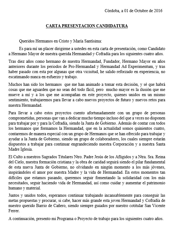 HERMANDAD Y COFRADÍA DE LA SAGRADA PRESENTACION AL PUEBLO (Córdoba ...