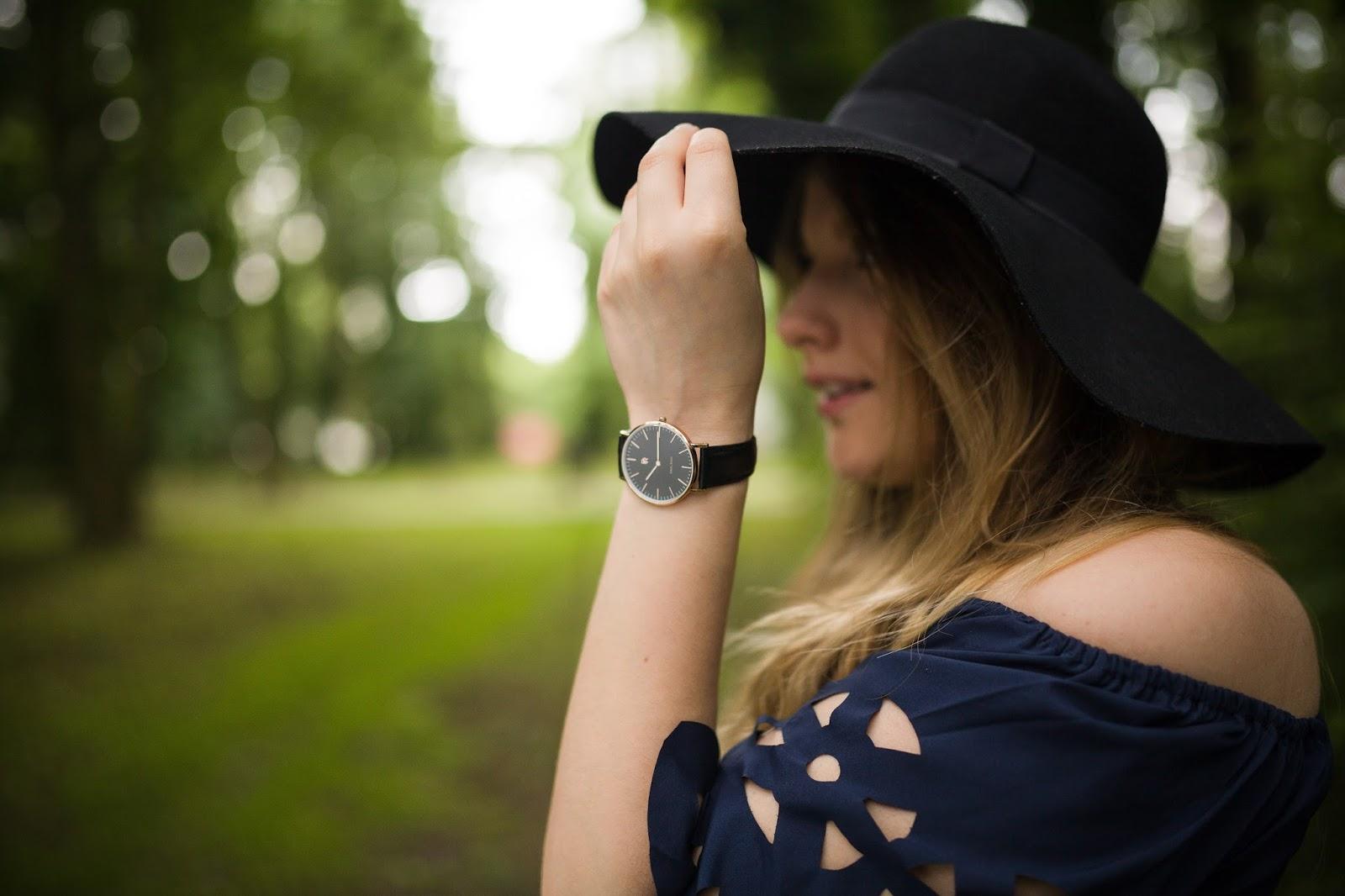 2 Off The Shoulder Flared Dress zaful paul rich watch hat sukienka zaful opinie recenzja buty łuków ażurowa hiszpanka granatowa baletki zegarek ootd lookbook fashionblogger blog modowy lifestyle