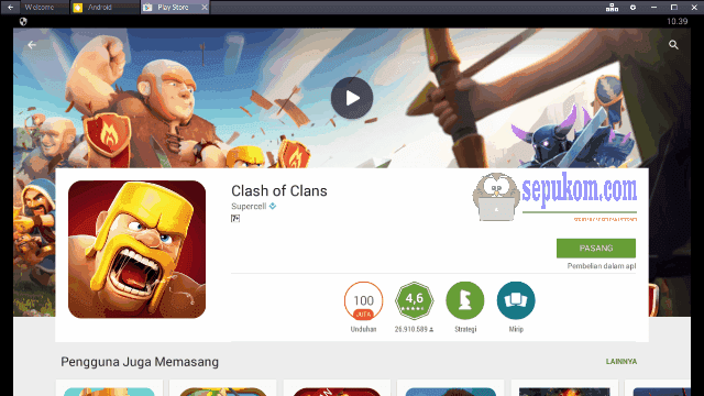 Pemasangan Clash Of Clans (COC) di Google Play Store Bluestacks App Player