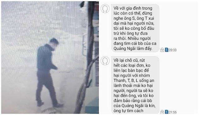 Đối tượng lạ mặt đến nhà ông D. gửi thư đe dọa và đoạn tin nhắn yêu cầu rút đơn tố cáo lãnh đạo VEC