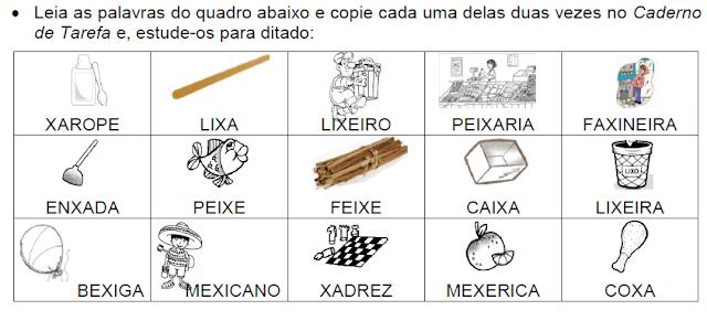 Lista de palavras que têm XA-XE-XI-XO-XU